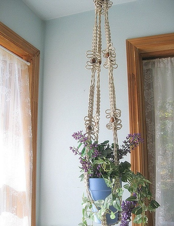vintage macrame plant hangers by mailordervintage on etsy