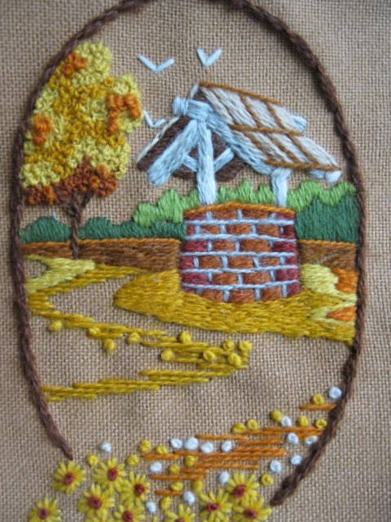 Vintage Crewel Needlepoint of Wishing Well dated 1979 on tan background by mailordervintage on etsy