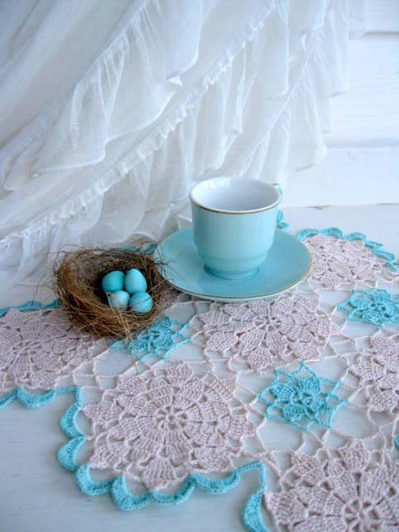 Doily, Aqua, Spearmint, Hand Crochet, Cottage Charm, French Country Decor, Shabby Cottage, by mailordervintage on etsy