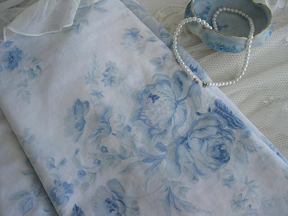 Sheet Bedding Blue Roses Shabby Chic French Country Decor