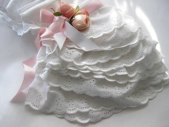 White Eyelet  Pillow Sham Set, Pillow Cases, Bedding,  Shabby Chic, French Country, Cottage Charm, Ruffled,  by mailordervintage on etsy