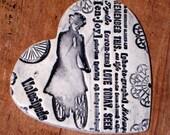 Victorian Lady Biking -- Ceramic Heart Wall Hanging / Keepsake / Gift Tag / Milagro in Black