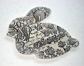 Dreamer - Ceramic Rabbit Wall Hanging in Black and White - Unique Home Decor