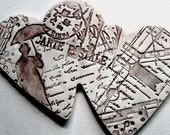 Rainy Paris Subway - Ceramic Double Heart Wall Hanging - Sepia and Chocolate Brown Room Decor - Housewarming Present