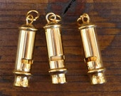 ONE Brass Police Bobby Whistle Great Pendant Charm