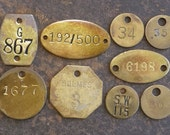 Brass TAGS Vintage Numbered Oval 2-Hole Coal Miner Dog Locker Round Square Rectangle