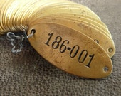 Vintage Brass Tag Numbered Oval 2-Hole Brass Tags