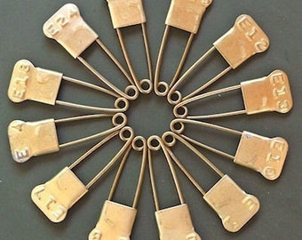 12 Vintage Laundry Pins Brass Embossed Numbered Marker Tag Pins