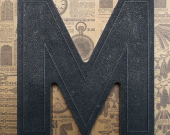 Vintage Alphabet Black Plastic Letter Signage Primitive Sign Marker Tag Sign M