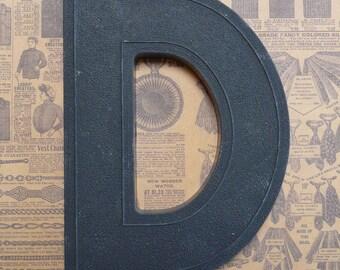 Vintage Alphabet Black Plastic Letter Signage Primitive Sign Marker Tag Sign D