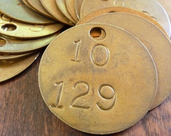 3- Vintage Numbered 1-Hole ROUND Primitive Brass Locker Tool Basket Library Drawer Miner ID Tags