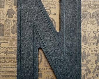 Vintage Alphabet Black Plastic Letter Signage Primitive Sign Marker Tag Sign N