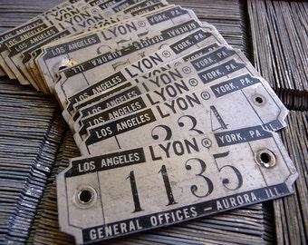 Vintage Locker, Numbered Tags, Locker Basket Plate, ID Marker