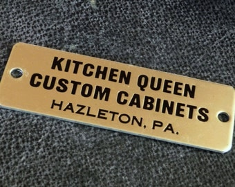 Vintage Appliance ID Tag -- Metal Sign Kitchen Queen Custom Cabinets Hazelton PA