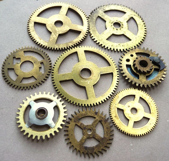Antique Wheels And Gears : Vintage brass clock gears wheels cogs medium large watch parts