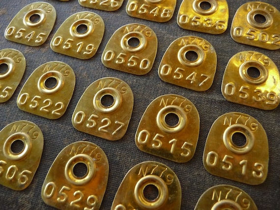 6 - SmALL Brass HALF ROUND Primitive Rustic Shabby Numbered Tags Vintage Patina Charm Finding Number