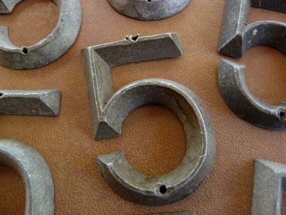 Antique Number 5 Marker Tag Art Deco Retro Mid Century Vintage Hardware No FIVE