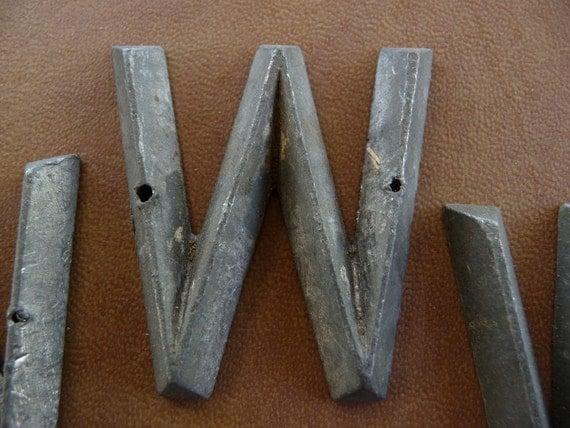 Letter W Marker Tag Art Deco Retro Mid Century Vintage Hardware