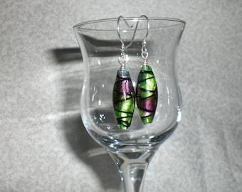 Mossy Green Dangly Earrings