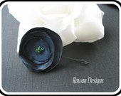Navy Blue Satin Flower Bobby Pin