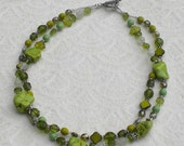 """Beaded Green Necklace made with Chalk Turquoise """"Green Grass"""""""