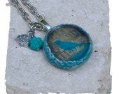 Handmade Colorful Crow Necklace Turquoise Necklace Silhouette Necklace with a Vintage Crow Photograph