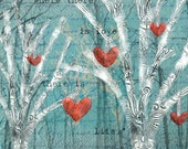 Mixed Media Giclee Print with Trees, Hearts, and Inspirational Gandhi Quote. 14 x 14 Ready to Hang Wrapped Canvas Archival Print