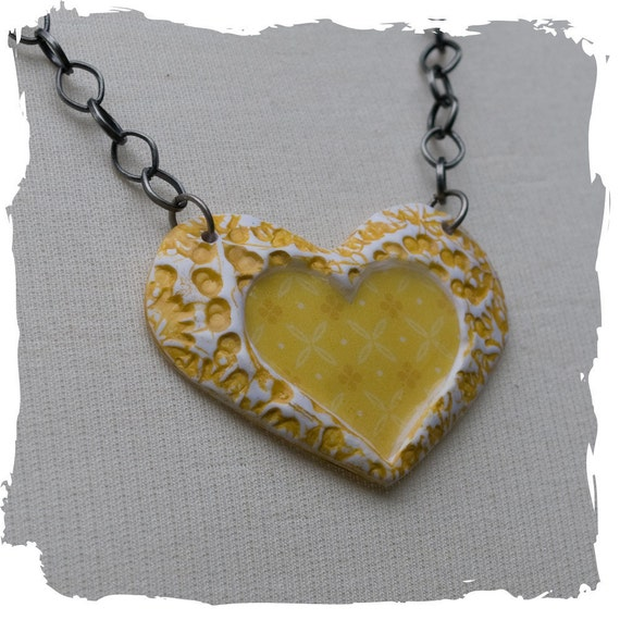 Heart Necklace with Handmade Yellow Heart Pendant and Antique Silver Chain