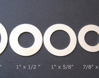 S A L E - 5 pcs - Sterling Silver 7/8 inch Round Circle Blank Washer - for Hand Stamping Jewelry