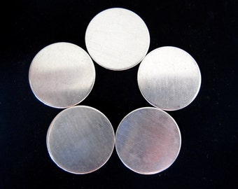 S A L E - 7/8 Inch 20 Gauge Sterling Silver Round Discs - 3 Discs - For Hand Stamped Jewelry