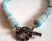 Amazonite Rondelle and Sterling Silver Necklace