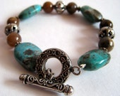 Turquoise, Moss Opalite and Silver Bracelet and Earring Set