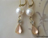 Vintage Frosted Glass and Rhinestone Pearl Earrings Bride Bridesmaid Wedding Party Bridal Party