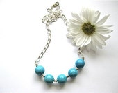 Magnesite Silver Necklace - Simply Aqua - PluffMudDesigns