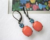 Vintage Orange Aqua Rhinestone Earrings - Poppy