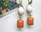 20% Sale - Vintage Orange & White Glass Earrings