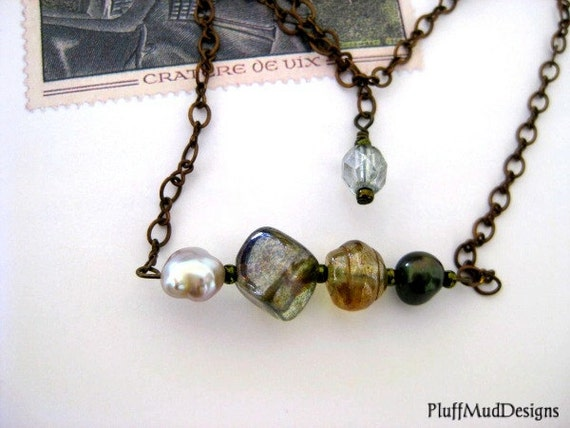 Green & Gold  Fresh Water Pearl and Vintage Glass Necklace - Falling Leaves