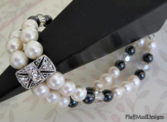 RESERVED for Mary - Swarovski Pearls Crystals Double Strand Sterling Silver Bracelet Bride Bridesmaids Wedding Party