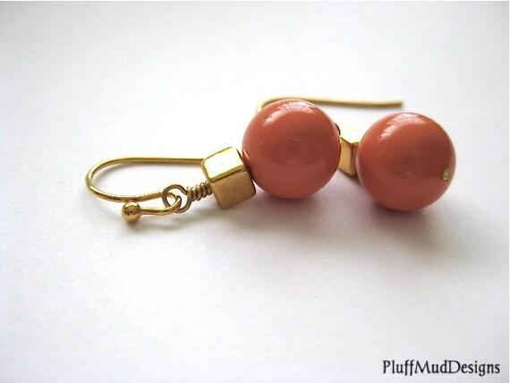 Swarovski Pearls Gold Earrings - Fuzzy Peach