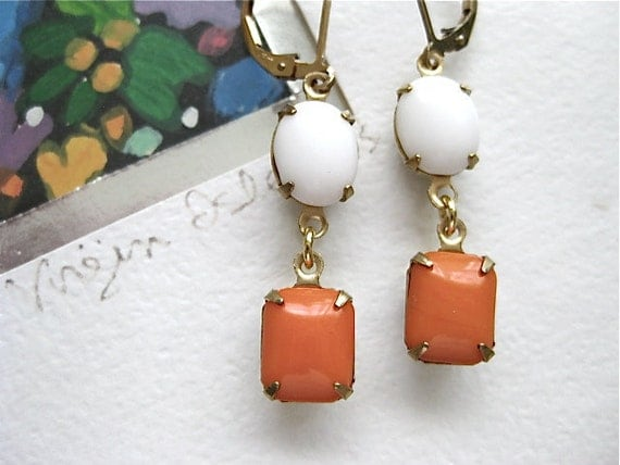20% Sale - Vintage Orange & White Glass Earrings