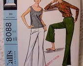 Vintage McCalls 8088 Pattern Bell Bottom Pants, Pullover, Shell 1965 Size 12 Bust 32