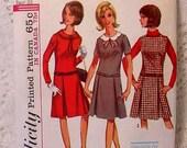 Vintage Simplicity 6142 Junior Petite Dress  Jumper Pattern  Size 11  UNCUT 1965