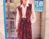 Butterick 6568 Pattern Vest, Skirt, Shirt Size 12 thru 16 1990s See n Sew