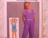 Vintage Simplicity 6862 Pattern 1985 Girls Pull-on Jumpsuit Size 10, 12, 14 UNCUT