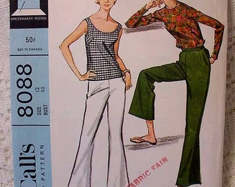 Vintage McCalls 8088 Sewing Pattern Bell Bottom Pants, Pullover, Shell 1965 Size 12 Bust 32