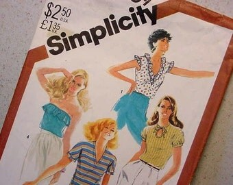 Simplicity 5509 One Yard Tops Pattern 1982 Size 14 Four Styles Sewing