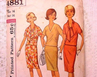Simplicity 4881 Sewing Pattern 50s 60s Size 16 Pencil Skirt and Top