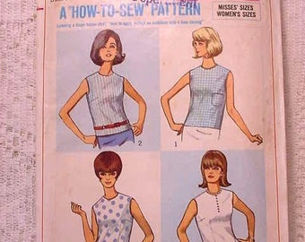 Vintage Simplicity 6316 Sewing Pattern 1965 Size 16 how to sew Overblouse