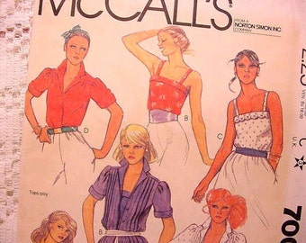 McCalls 7007 Pattern Camisole and Blouses 1980 Size 9 to 10 Juniors / Teen Sewing