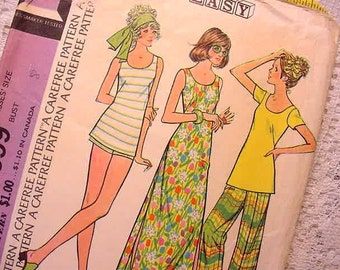 McCalls 3599 Sewing Pattern Groovy 1973 Dress, Top, Pants, Shorts Size 8
